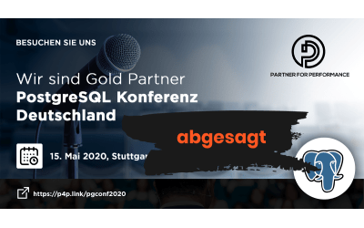 cancelled – We are gold sponsor of the German PostgreSQL conference on May 15th in Stuttgart
